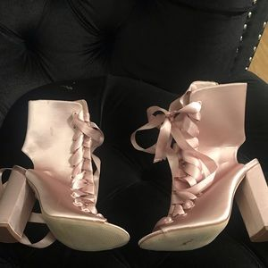 Women's Blush Strappy Booties with Block Heel